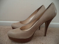Nice! Enzo Angiolini Tan Neutral Classic Leather w/ Wood Look Heel Stiletto 10