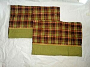 WALMART HOME TRENDS FLANNEL MAHOGANNY GREEN PLAID (2) STANDARD PILLOWCASES 20X29