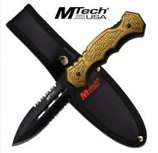 """M-TECH USA 9"""" STAINLESS STEEL FIXED BLADE W/ ARMY GREEN ALUMINUM HANDLE + SHEATH"""