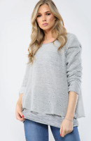 LAGENLOOK GREY Double Layer Cosy Knitted Jumper Top Fit Size 10 12 14 16 BNWT