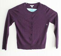 New York Company Women's Cardigan Sweater Sz L Purple Button Front Crew Neck NWT