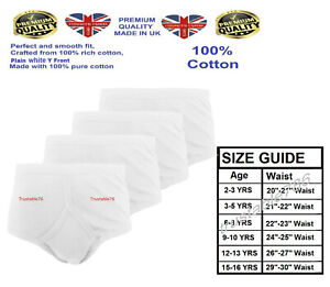 3/6/12 X Boys Soft Comfy 100% Cotton Y Front Underwear Pants White (Made in UK)