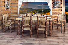 Rustic Log Dining Room Set Table And Six Chairs Amish Made Lodge Furniture Sets