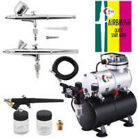 OPHIR 3-Airbrush Spray Gun Kit Air Compressor for Temporary Tattoo Hobby Cake