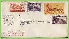 Vietnam 1953 4 stamp First Flight Cover, Saigon to Guam, with flight cachet