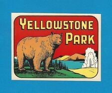 "VINTAGE ORIGINAL 1948 SOUVENIR ""YELLOWSTONE PARK"" GRIZZLY BEAR TRAVEL DECAL ART"