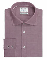T.M.Lewin Mens Optical Check Slim Fit Burgundy Single Cuff Shirt