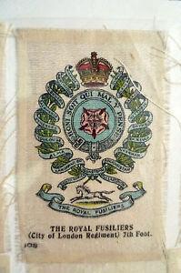 B.D.V. Cigarettes Silk- THE ROYAL FUSILIERS(City of London Regt) 7th Foot-7x5 cm