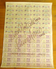 ITALY ASSEGNI BANKNOTES 50 LIRE SHEET of 70 from PRATO & MANDAMENTO XMAS NEWYEAR
