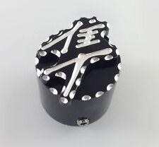 99-07-17 Hayabusa 3D Black/Silver Pocket Engraved Kickstand Center Nut Cover Cap