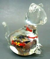 VINTAGE 1980s CAT PAPERWEIGHT FIGURINE HAND BLOWN ART GLASS MILLEFIORI GOLD FISH