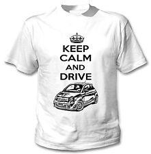FIAT ABARTH 2015 ispirato Keep Calm and Drive P-T-SHIRT COTONE BIANCO NUOVO