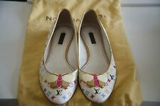 LOUIS VUITTON , WOMEN MULTICOLOR WHITE, BALLERINAS WITH BUTTERFLY DETAIL , 38.5