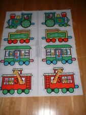 VTG SPRINGS MILLS CRAFT FABRIC SEWING PANEL ~ CIRCUS TRAIN ZOO ANIMAL TOY ~ NEW