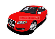 AUDI RS4 GRAPHIC CAR ART PRINT PICTURE (SIZE A3). PERSONALISE IT!
