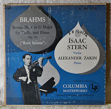 "Isaak Stern Violin Alexander Zakin Piano Brahms Sonata No 1 in G Major 10"" LP"