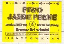 POLAND Browar Nr.1 w Lodzi Jasne Pelne Sailboat beer label C1730 027