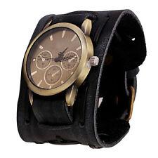 Men's Retro Style Punk Rock Brown Big Wide Leather Bracelet Cuff Watch Cool Gift