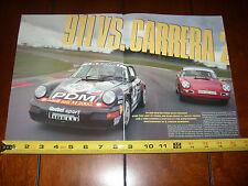 1965 PORSCHE 911 RACE CAR vs. PORSCHE CARRERA 2 GOEBLE - ORIGINAL 1990 ARTICLE