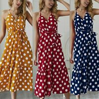 Women's Sexy Sling Polka Dot Strappy Dresses Ladies Summer Holiday Beach Dress