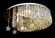 "H10"" x W20"" Modern Lamp Moon and Star Ceiling LED K9 Crystal Chandelier"
