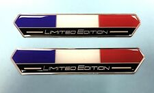 2 x France Flag Limited Edition 100mm Stickers/Decals - HIGH GLOSS DOMED GEL