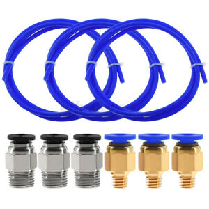 PTFE Tube+3 PC4-M6 Pneumatic Connector+3 PC4-M10 Connector For 3D Rrinter Tubing