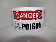 DANGER POISON Skull/Cross Bones  2X3 red/black Warning Stickers Labels 125/rl