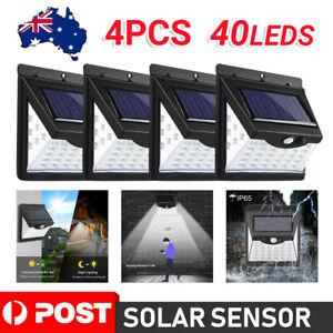 4X 40 LED Solar Powered PIR Motion Sensor Light Garden Outdoor Security Lights