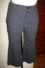 Pantacourt bermuda coton leger bleu/noir rayé ONE STEP 36 W26 bas revers  ET38