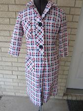 vintage?John Leonard fully lined red white blue nubby linen coat dress size 6-8