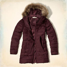 Hollister by Abercrombie Fitch Hooded Fur Trim Scripps Pier Puffer Jacket S $160