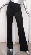 BURBERRY $750 Womens Black Wool Wide-Leg Dress Pants Trousers 44/8 M NEW