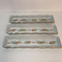 Vintage Lefton China Hand Painted Floral Pickle Relish Dish 2288 Lot Of 3