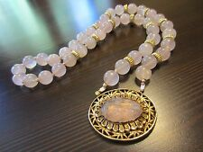 RARE Antique Chinese Royal Carved Rose Pink Quartz 10K Gold Over Silver Necklace