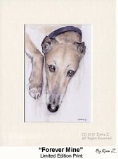 Greyhound Print Fawn Whippet Forever Mine Limited Signed Art NEW Kevin Z Arttogo