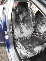 i - TO FIT A MINI PACEMAN CAR, SEAT COVERS, 2 FRONTS, GREY FAUX FUR