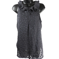 LC Lauren Conrad Gray & Silver Sparkle Floral Sleeveless Top Women's Size Small