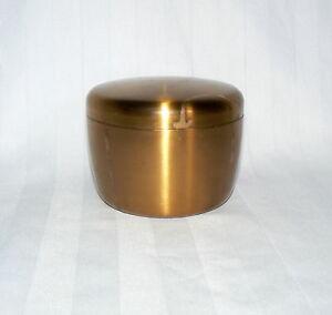 """Brass Metal Round Musical Powder Holder Box Opera Bizet 3"""" x 4"""" Rigoletto"""