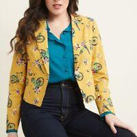 ModCloth Bicycle Floral Print Blazer Jacket, Mustard Golden Pink, Cotton, Sz L