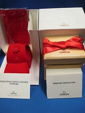 OMEGA Wood/Red Ribbon Watch Box Pouch Pillow/Cushion Wallet instruction manuals