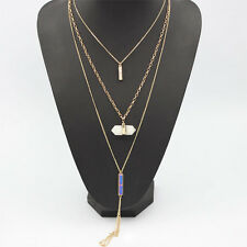 Women New Natural Crystal Tassel Three layered Pendant Long Gold Chain Necklace