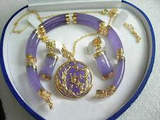 Purple Jade Gold Plated Fortune Dragon Phenix Bracelet Pendant Necklace Earrings