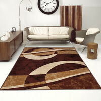 Modern Design Brown Burgundy Rug Small Extra Large Soft Geometric Figure Pattern