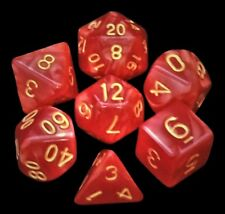 7 Piece Polyhedral Dice Set -  Devil's Blaze Red Marble Gold Numbers -  Red Bag