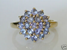 Beautiful 9ct Gold Tanzanite Cluster Ring Size M