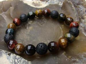 Natural Gemstone ELASTIC bracelet all 10mm Tiger Eye, Lava beads 7.5inch