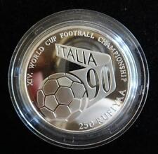 1990 SILVER PROOF MALDIVES 250 RUFIYAA COIN + COA  FOOTBALL WORLD CUP ITALY