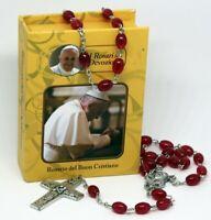 ROSENKRANZ Rot Taufe Kommunion KREUZ Kette MARIA Jesus GOTT HALSKETTE in Box