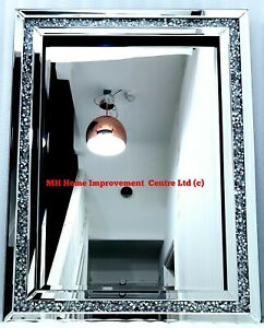 Living Room Hallway Diamond Crush Crystal Sparkly Silver Wall Mirror 60X80cm